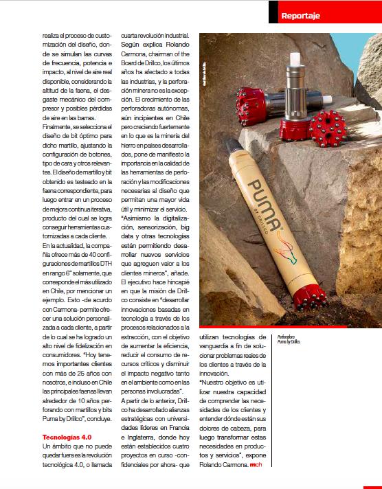 """Drillco en la edición especial de """"Minería: Un Horizonte 4.0"""", en especial sobre sus proyectos tecnológicos en desarrollo con Universidades Líderes Europeas"""